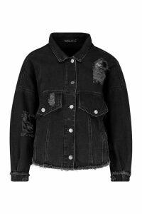 Womens Petite Batwing Acid Wash Denim Jacket - black - 6, Black