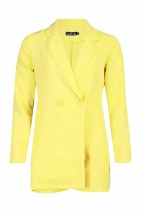 Womens Woven Blazer Playsuit - yellow - 12, Yellow