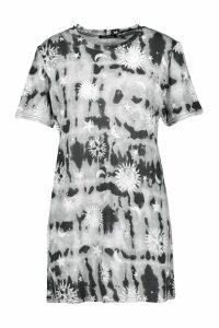 Womens Tie Dye Celestial Print T-Shirt Dress - black - 14, Black