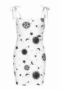 Womens Celestial Square Neck Lace Up Mini Dress - white - 8, White