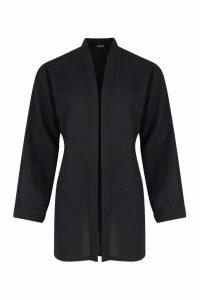 Womens Linen Look Oversized Kimono - black - S/M, Black