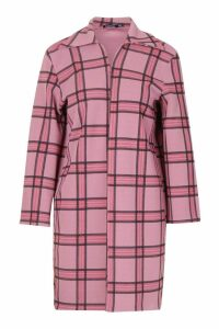 Womens Pink Check Longline Duster - M/L, Pink