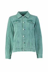 Womens Washed Oversized Denim Jacket - green - 12, Green