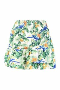 Womens Shirred Asymetric Skirt - white - 14, White