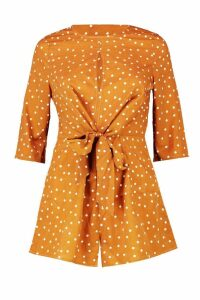 Womens Twist Front Tie Polka Dot Playsuit - orange - 8, Orange