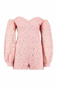 Womens Corded Lace Volume Sleeve Playsuit - Pink - 14, Pink