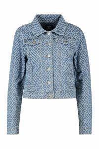 Womens Diamond Pattern Denim Jacket - blue - 8, Blue
