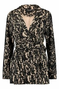 Womens Corded Lace Blazer Playsuit - black - 10, Black