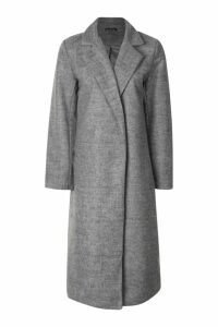 Womens Longline Collared Wool Look Coat - grey - 10, Grey