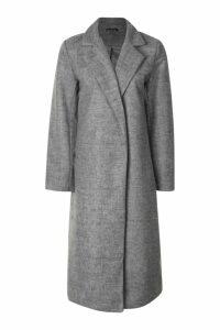 Womens Longline Collared Wool Look Coat - grey - 10, Grey