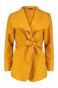 Womens Belted Waterfall Faux Fur Teddy Coat - yellow - One Size, Yellow