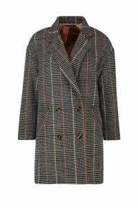 Womens Double Breasted Check Wool Look Coat - brown - 14, Brown