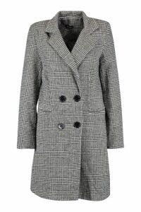 Womens Check Double Breasted Wool Look Coat - black - 12, Black