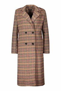 Womens Check Longline Wool Look Coat - brown - 12, Brown