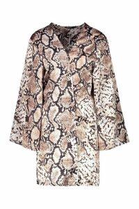 Womens Satin Snake Print Kimono - beige - S, Beige