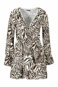 Womens Zebra Ruffle Wrap Skort Playsuit - beige - 10, Beige
