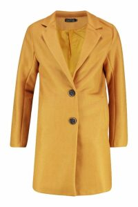 Womens Button Through Wool Look Coat - yellow - 12, Yellow
