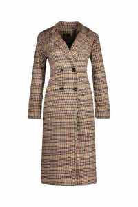 Womens Longline Edge To Edge Check Coat - brown - 8, Brown