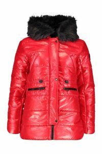 Womens Cire Padded Faux Fur Hooded Parka - red - L, Red