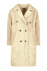 Womens Oversized Double Breasted Faux Fur Teddy Coat - beige - S, Beige