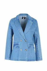 Womens Denim Button Detail Blazer - blue - 12, Blue