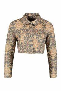 Womens Chain Print Cropped Denim Trucker Jacket - metallics - L, Metallics