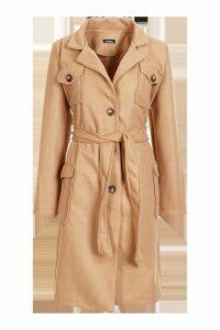 Womens Pocket Detail Wool Look Coat - beige - 10, Beige