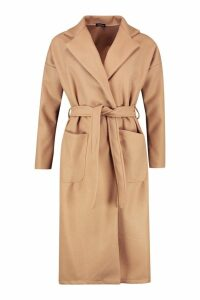 Womens Longline Belted Wool Look Coat - beige - 10, Beige