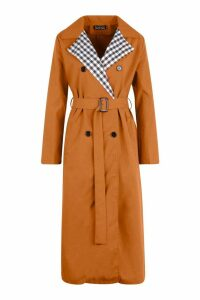 Womens Check Lined Trench Coat - brown - S, Brown