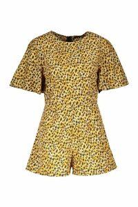 Womens Leopard Print Playsuit - brown - 16, Brown