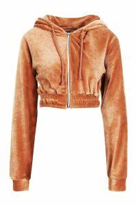 Womens Cropped Velvet Zip Through Hoody - beige - 12, Beige
