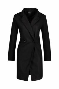 Womens Seam Detail Wool Look Coat - black - 12, Black