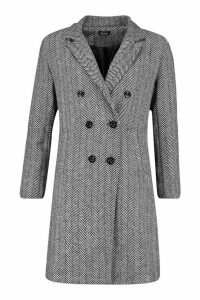 Womens Herringbone Double Breasted Wool Look Coat - black - 14, Black