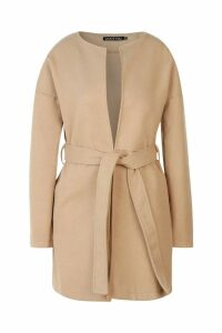 Womens Collarless Belted Wool Look Coat - beige - 8, Beige
