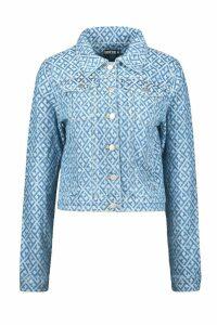 Womens Geometric Denim Jacket - blue - 12, Blue
