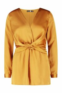 Womens Satin Twist Front Playsuit - yellow - 12, Yellow