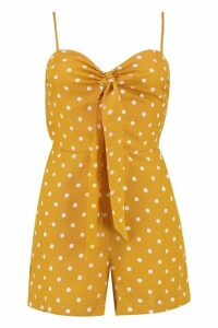 Womens Polka Dot Tie Front Playsuit - yellow - L, Yellow