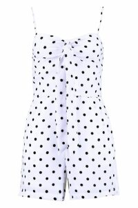 Womens Polka Dot Tie Front Playsuit - white - M, White