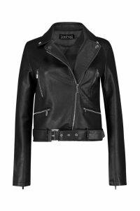 Womens Belted Pu Biker Jacket - black - XL, Black