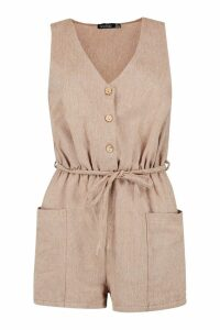 Womens Horn Button Down Pocket Playsuit - brown - 14, Brown