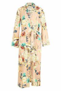 Womens Premium Floral Print Kimono - beige - S/M, Beige
