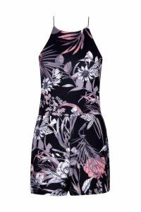 Womens Rose Dark Floral High Neck Playsuit - multi - 16, Multi