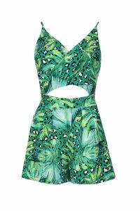 Womens Leopard Palm Mix Wrap Tie Back Playsuit - green - 8, Green