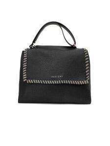 Orciani Black Leather Sveva Medium Bag