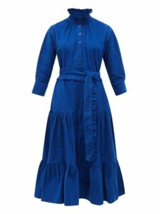 Evi Grintela - Phoebe Ruffled Cotton Corduroy Midi Dress - Womens - Blue