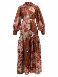 Evi Grintela - Elsa Patchwork Print Silk Maxi Shirt Dress - Womens - Pink Print