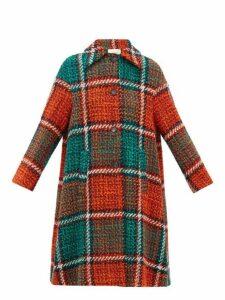 La Doublej - Single Breasted Checked Wool Blend Tweed Coat - Womens - Red Print