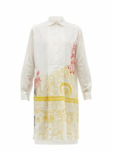 Kilometre Paris - Basilica De Santa Croce Khadi Cotton Shirtdress - Womens - White Print