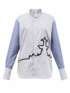 Kilometre Paris - 10 Place De La Concorde Cotton Poplin Shirt - Womens - Blue Print