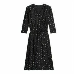 Printed Midi Wrapover Dress with Tie-Waist